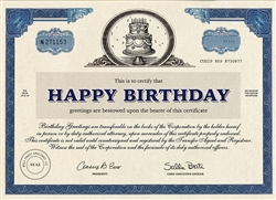 Happy Birthday Stock Certificate Card