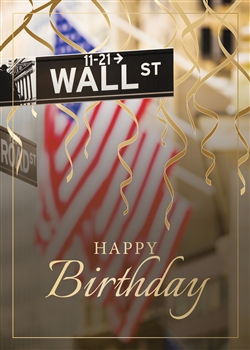 American Flag on Wall Street Birthday Card - Greeting Card