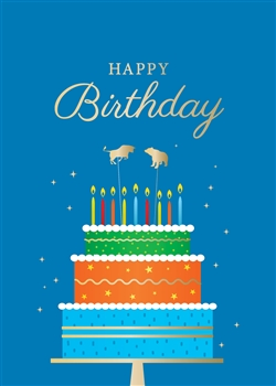 Bull and Bear Colorful Cake Birthday Card - Greeting Card