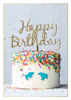Bull & Bear Happy Birthday Cake Birthday Card - Greeting Card