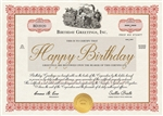 Birthday Foil Stock Certificate Birthday Card - Greeting Card