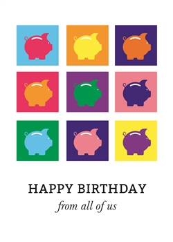 Piggy Bank Pop Art Birthday Card - Greeting Card