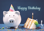 Piggy Bank and Cake Birthday Card - Greeting Card