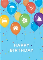 Insurance Balloons Birthday Card