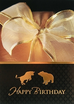 Gold Bull & Bear Birthday Greeting Card