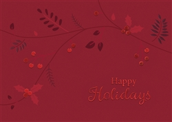 Red Foil Holly Leaves Holiday Card