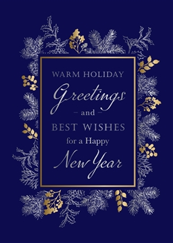 Navy Holiday Foliage Holiday Greetings Card