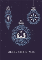 Navy Religious Ornaments Holiday Greeting Card