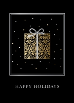 Silver & Gold Holiday Present Holiday Greetings Card