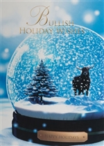 Snow Globe Bull Happy Holidays Greetings Card