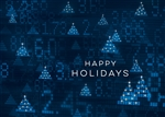 Blue Ticker Screen Holiday Card