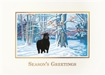 Bull in Winter Snow Season's Greetings Card