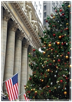 Tree on Wall Street Holiday Card
