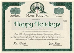 Holiday Stock Certificate - Holiday Greeting Card