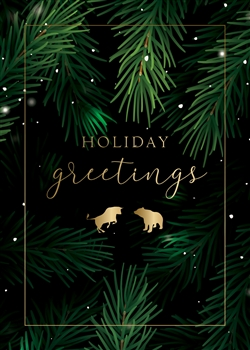 Bull & Bear Holiday Evergreen Holiday Greetings Card