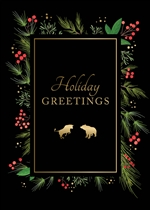 Bull & Bear Holiday Garland Holiday Greetings Card