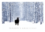 Bull in Wintry Forest Season's Greetings Holiday Greeting Card
