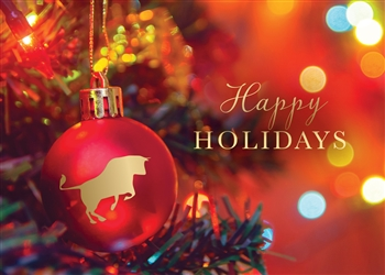 Financial Bull Ornament Holiday Greeting Card