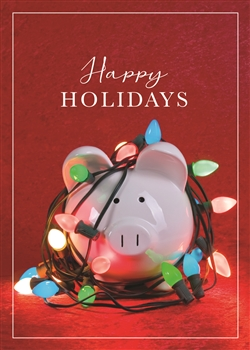Piggy Bank Lights Holiday Greeting Card