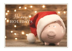 Piggy Bank Santa Hat Holiday Greeting Card