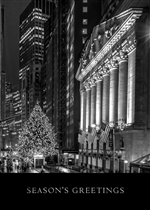 Silver and Black Stock Exchange Holiday Greeting Card