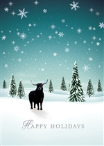 Snowy Day Bull Holiday Greeting Card
