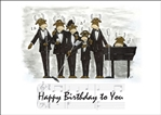 Rat Pack Bulls Happy Birthday Card