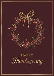 Elegant Thanksgiving Wreath Greeting Card - PREMIUM