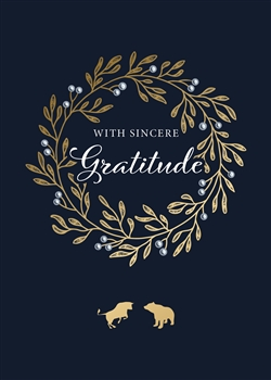 Bull & Bear Gratitude Wreath Holiday Greeting Card