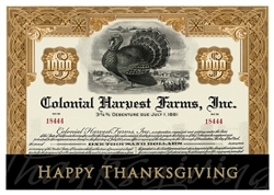 Thanksgiving Stock Certificate Greeting Card