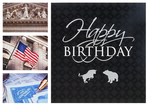 Wall Street Collage Birthday Card Larger Photo