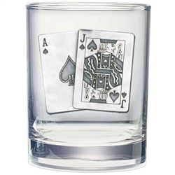 Black Jack Whiskey Glasses - Set of 2