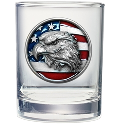 American Eagle w/ Flag Whiskey Glasses - Set of 2