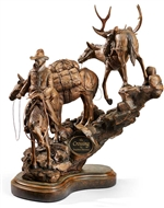 Cowboy & Pack Horses Sculpture - The Crossing