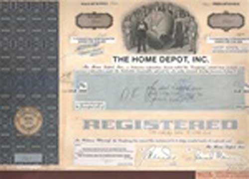 The Home Depot INC Stock Certificate Mock up