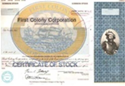 First Colony Corporation Stock Certificate Mock-up