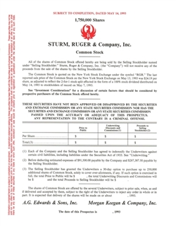 Sturm, Ruger and Company, Inc.  IPO Prospectus