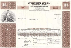 Western Union Corp Preferred Stock Certificate - Brown