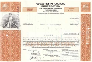 Western Union Corp Preferred Stock Certificate - Orange