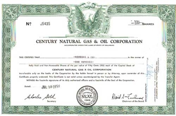 Century Natural Gas & Oil Corporation Stock Certificate
