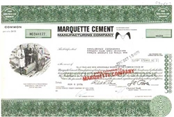 Marquette Cement Manufacturing Company Stock Certificate