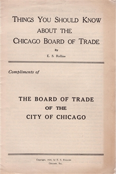 """Things You Should Know About the Chicago Board of Trade"" Booklet"