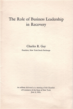 "1935 NYSE ""The Role of Business Leadership in Recovery"" Booklet"
