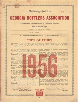 Pepsi Cola Code of Ethics 1956 - Rare