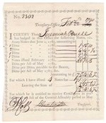 1790 Continental Army Receipt for Promissary Note