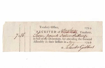 1794 U.S. Treasury-Office General Assembly Receipt