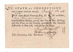 1781 State of Connecticut Promissory Note - Revolutionary War