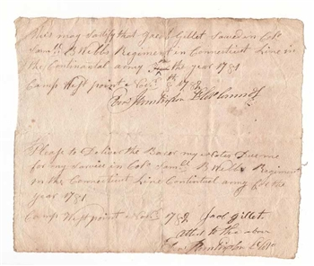 1782 Letter of Service in the Continental Army - Revolutionary War