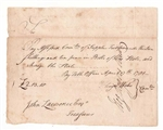 1781 Revolutionary War Pay Table Note for Supplies