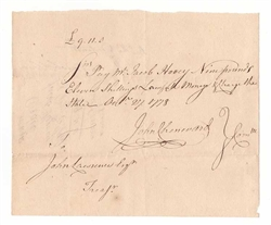 1778 Promissory Note Signed by John Chenward - Revolutionary War